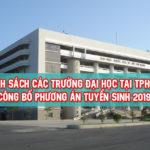 Danh sách trường đại học tại TPHCM công bố phương án tuyển sinh năm 2019